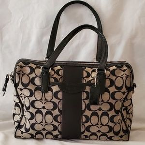 Authentic Coach Nancy Satchel Handbag Black/Gray